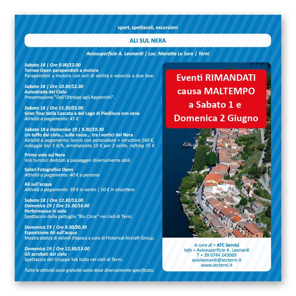 Eventi RIMANDATI causa MALTEMPO a sabato 1 e domenica 2 giugno 2013